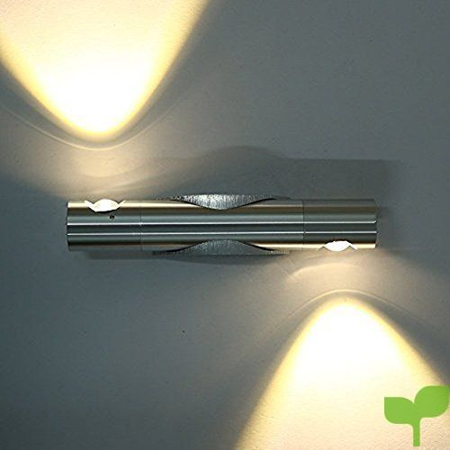 Glighone Apliques de pared Lámpara Moderna 2 LED 6W Luz de Puro Aluminio Luz en Moda Lámpara Interior para Decoración del Hogar Dormitorio, Blanco Cálido