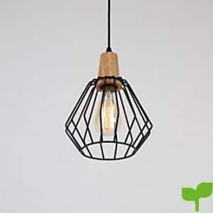 Glighone Lámpara de Techo Lámpara Industrial Luz Vintage Lámpara Colgante Luz de Pantalla Jaula de Hierro Estilo Rústico Casquillo E27 No Incluye Bombilla para Decoración Interior Comedor, Negro