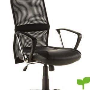 hjh OFFICE 668010 silla de oficina ARTON 20 tejido de malla / piel sintética negro, con apoyabrazos, base cromada, con apoyacabezas integrado, transpirable, fácil de limpiar, inclinable, alta calidad