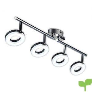 Lámpara LED de techo I Foco LED para techo I Focos redondos I Orientables y giratorios I Lámpara de salón I Cromado I 230 V I IP20 I 4 x 4 W I Longitud: 685 mm