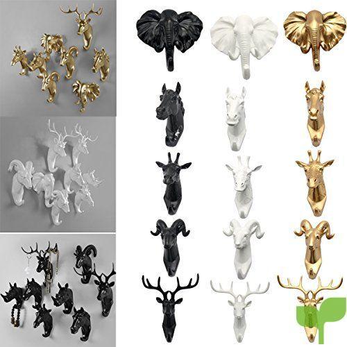cornamenta para colgar en la pared perchero con forma de animal Cabeza de ciervo Evilandat regalo decorativo. blanco