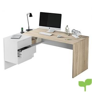 Habitdesign 0F4655A – Mesa Office, Mesa despacho Ordenador Modelo BUC 3 cajones, Color Blanco Artik y Roble Cananadian …