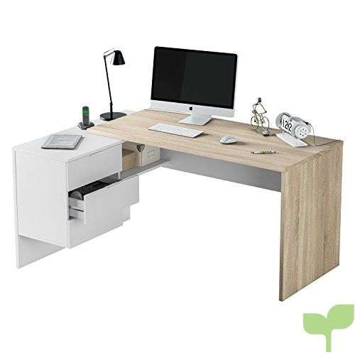 Habitdesign 0F4655A – Mesa Office, Mesa despacho Ordenador Modelo BUC 3 cajones, Color Blanco Artik y Roble Cananadian …