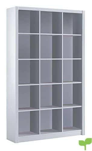Habitdesign 005493BO – Estantería librería Triple, Color Blanco Brillo, Medidas 195 x 114 x 30 cm de Fondo