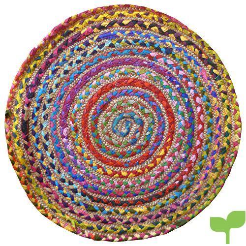 Alfombra redonda multicolor, algodón y yute cosido, con materiales reciclados, multicolor, 60cm Diameter