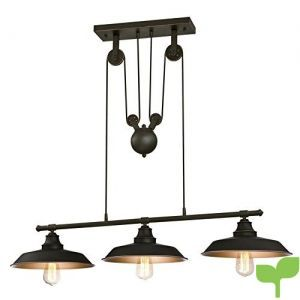 Westinghouse Three-Light Indoor Island Pulley Pendant Lámpara de Techo con Poleas, Bronce Aceitado