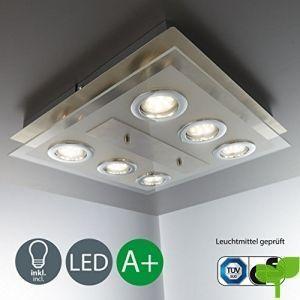 Lámpara de techo LED I 6 focos I Marco cuadrado I Incluye 6 luces GU10 de 3 W I Lámpara para habitación I Color níquel mate I Color de la luz blanco cálido I 230 V I IP20