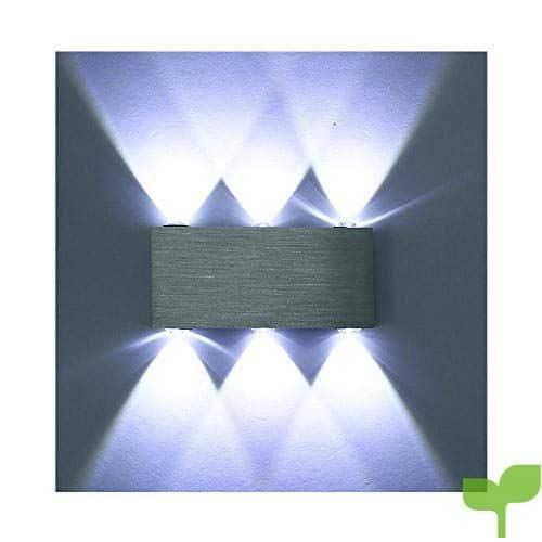Glighone Aplique de Pared 6 LED 6W Lámpara de Pared Luz Moderna de Puro Aluminio Luz Exterior y Interior para Decoración del Hogar Pared Dormitorio Pasillo Entrada, Blanco Frío