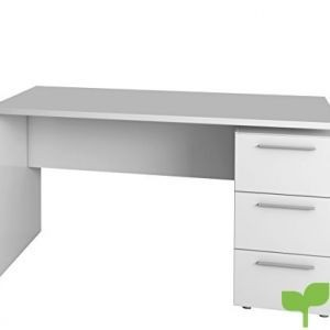 Habitdesign 004605BO – Mesa de despacho 3 cajones, Color Blanco Brillo, Medidas: 74 x 138 x 60 cm de Fondo