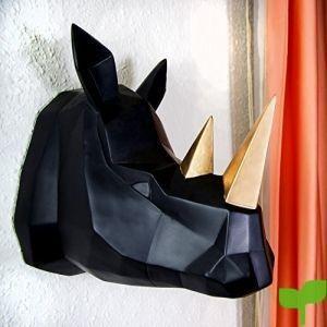 Walplus contemporáneo geométrico sintética taxidermia Rhino en dorado y negro perchero de pared de pared Arte decoración hogar idea