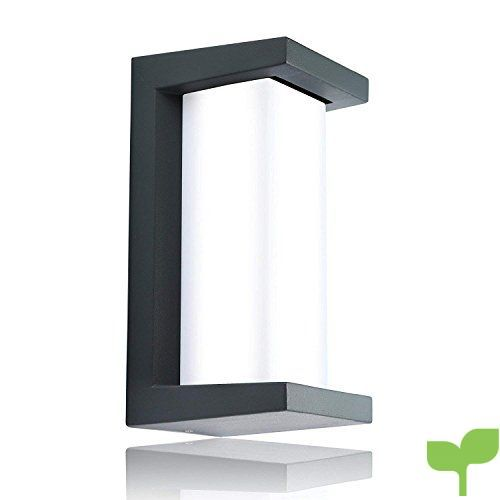 Glighone Aplique de pared Lámpara de Pared LED 10W Aplique Moderna Luz de Puro Aluminio Impermeable IP54 Luz Interior y Exterior para Decoración del Hogar Dormitorio, Blanco Frío