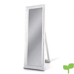 Madera sólida – Shabby Chic Espejo Largo – Grande – 130 x 45 cm – Montado en la Pared o parado con su Pie – Blanco