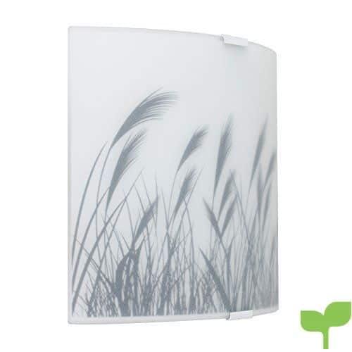 MiniSun – Moderno aplique de pared curvado, de cristal satinado y estampado de trigo