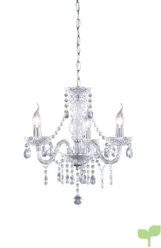 Reality Luster – Lámpara colgante de 3 luces. Necesarias 3 Bombillas E14 de máximo 40W excluidas. Cuerpo acrílico transparente