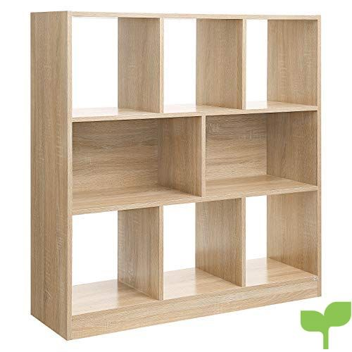 SONGMICS Librería de madera con cubos y estantes abiertos, Estantería para libros independiente, para Sala de estar, Dormitorio, Habitación de niños y Oficina, 97,5 x 30 x 100 cm (Largo x Ancho x Alto), Roble, LBC52NL
