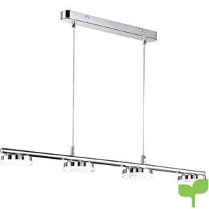 Reality Rennes – Lámpara colgante. 4 luces SMD-LED de 4W cada una. Cuerpo de metal cromo y luces de acrílico blanco