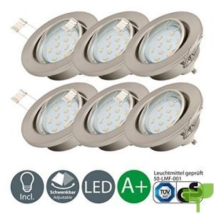 Lámpara LED de techo I Foco LED empotrable I Marco redondo I Color de la luz blanco cálido I Incluye 6 x 3 W luces LED GU10 I Kit de 6 unidades I Giratorio I Metal I Níquel mate I 230 V I IP23 I Ø 86 mm