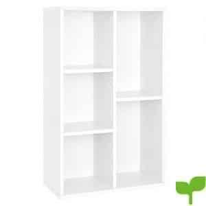 SONGMICS Estantería para Libros con 5 Compartimientos Estantería de Archivo Estante de Pared Estantería de pie Color Blanco: 50 x 24 x 80 cm (Largo x Ancho x Alto) LBC25WT