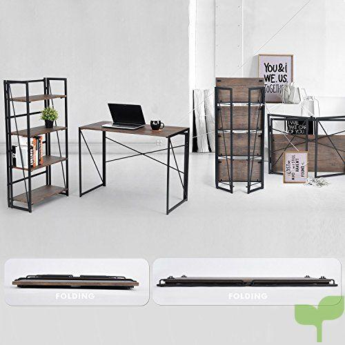 d0cd3d825879f ... coavas Estantería Librería Organizador Plegable de Metal Efecto Madera  Diseño Industrial para Almacenamiento o Decoración ...