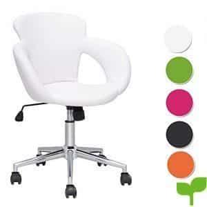 SixBros. Design Taburete giratorio Silla de oficina blanco – M-65335-1/725
