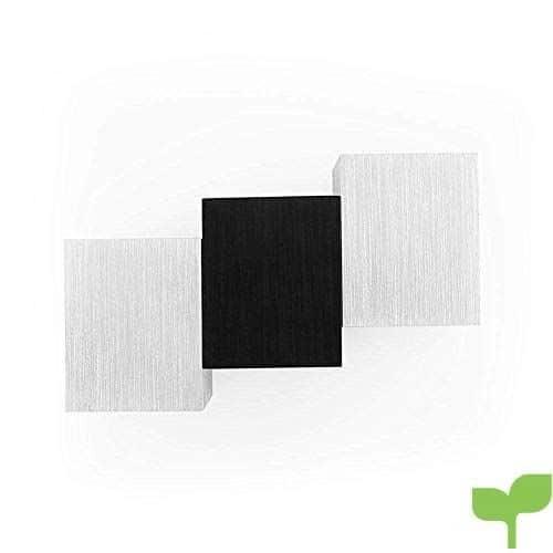 Warmcasa Apliques de Pared Interior 6W 2 LED Diseño Moderno Luz Blanco Cálido Lámpara de Aluminio de Color Plata Decoración para Salón Pasillo Escalera Dormitorio Baño y Balcón 180*115*60mm (3 LEDs Cálido)