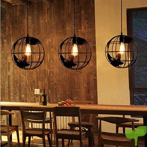 Sharplace Vintage Colgante de Bulbo Luz Global Lámpara Salón Vestíbulo Sombra Ligera Anti-corrision – Negro con Línea