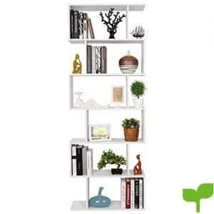 HOMFA Estantería librería 6 Estantes Estantería Pared Estantería Libros de diseño Blanco 70×23.5x190cm