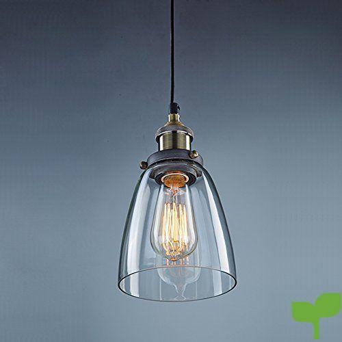 Unimall Lámpara de Techo Vintage Vidrio Colgante de Luz Industrial Lámpara Colgante de Cristal Transparente con Pantalla Vendimia Ideal para Habitación Salón Cocina Restaurante Cafetería (Bombilla No Incluída)