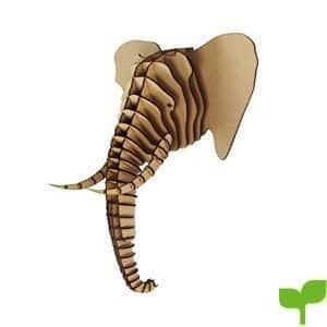 Madera, Tamaño grande), diseño de elefante trofeo cabeza de animal 3d Wall Art–Home Decor para colgar en la pared