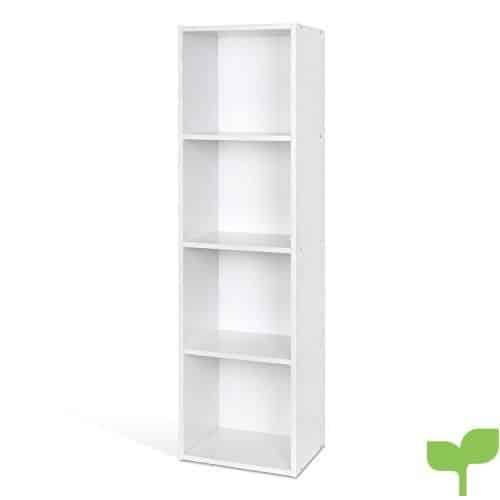 Homfa Estantería para Libros Estantería de Pared Librería con 4 Niveles para Salón Estudio Blanca 30×23.5x106cm