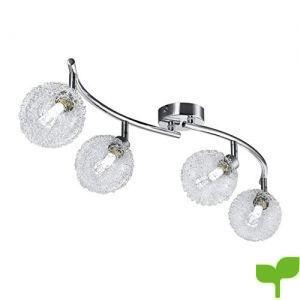 Lámpara de techo I Bolas de cristal I Foco LED para techo I Incluye 4 bombillas LED G9 I Luces LED I Focos giratorios I Lámpara moderna I Metal I Cromado I Curvada I 230 V I IP20 I 4 x 3,5 W