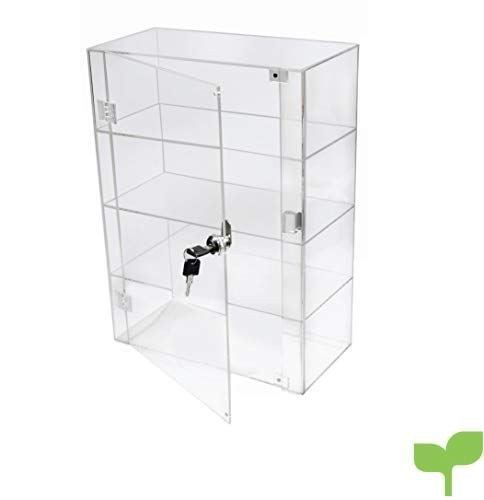 Brillante vitrina expositora de acrílico transparente con puerta delantera y bloqueo de seguridad DB088A-06IN