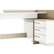 abitti mesa escritorio con cajonera y varios departamentos en color blanco perla y roble cepillado de 128x83cm 2 opciones de montaje 180x180 - Listado de páginas de nuestro sitio web