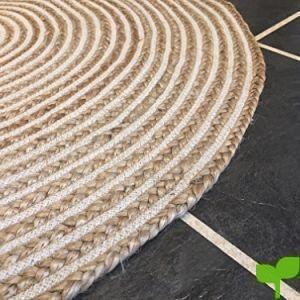 Alfombra grande de 120 cm de yute natural y algodón. Redonda y de color beige