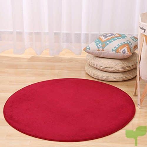 Alfombras, CAMAL Material de Terciopelo Coral Redonda Alfombras de Yoga para Sala de Estar Dormitorio y Baño (120cm, Rojo)