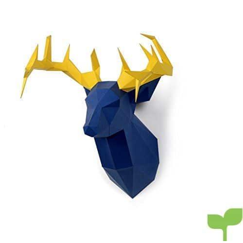 Timorn DIY Pre-cortado Papercraft Ensamblaje Kit 3D Wall Ciervo Head Trophy (Ciervo)