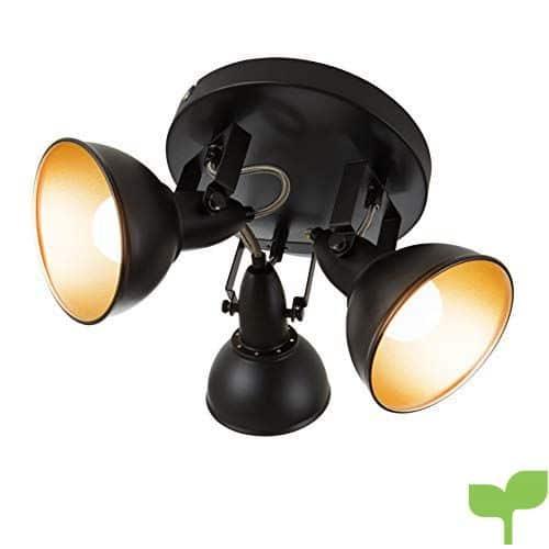 Lámpara de techo Briloner Leuchten, redonda con 3focos giratorios con estilo retro/vintage, 40W, diámetro de 21cm, metal, E14, color negro y oro, 21x 21x 15,6cm