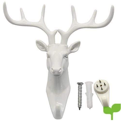 Cabeza de ciervo Evilandat, cornamenta para colgar en la pared, perchero con forma de animal, regalo decorativo., blanco