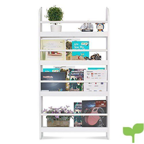 HOMFA Estantería de pared Estantería infantil para Libros, Revistas y Prensas con 4 Estantes Librería infantil de dormitorio 60x12x115cm Blanco