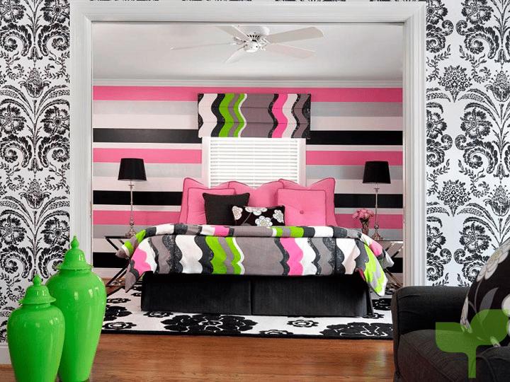 colores papel pintado - Ideas para decorar una habitación juvenil