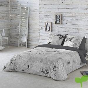 COTTON ART- Funda Nórdica DOS GARDENIAS GRIS Cama de 150 (240x260cm)+ 2 FUNDAS DE ALMOHADA (45X80cm). ALGODÓN 100%. Disponible para cama de 90,105,135,150 y 180.