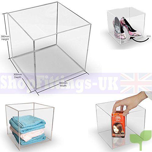 Cubo de presentación cuadrado, de 5lados, bandeja de plexiglás y acrílico, soporte para tienda 300x300x300mm Acrylic Cube