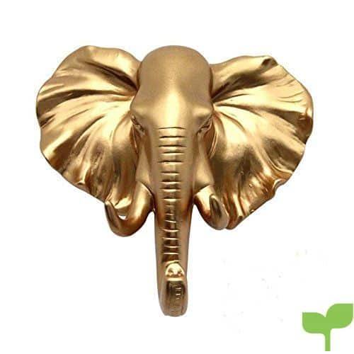 spove elefante cabeza sola pared ganchos Heavy decorativo con forma de animales gancho perchero sombrero gancho para casa jardín decoración, resina, dorado, 4.7*4.5*2.16 In