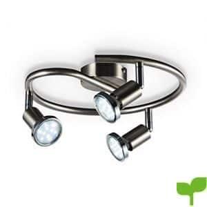Lámpara de techo en forma de espiral I Foco LED para techo I Incluye 3 bombillas GU10 I Orientable y giratoria I Níquel mate con tres anillos cromados I 230 V I IP20 I 3 x 3 W I Ø 280 mm