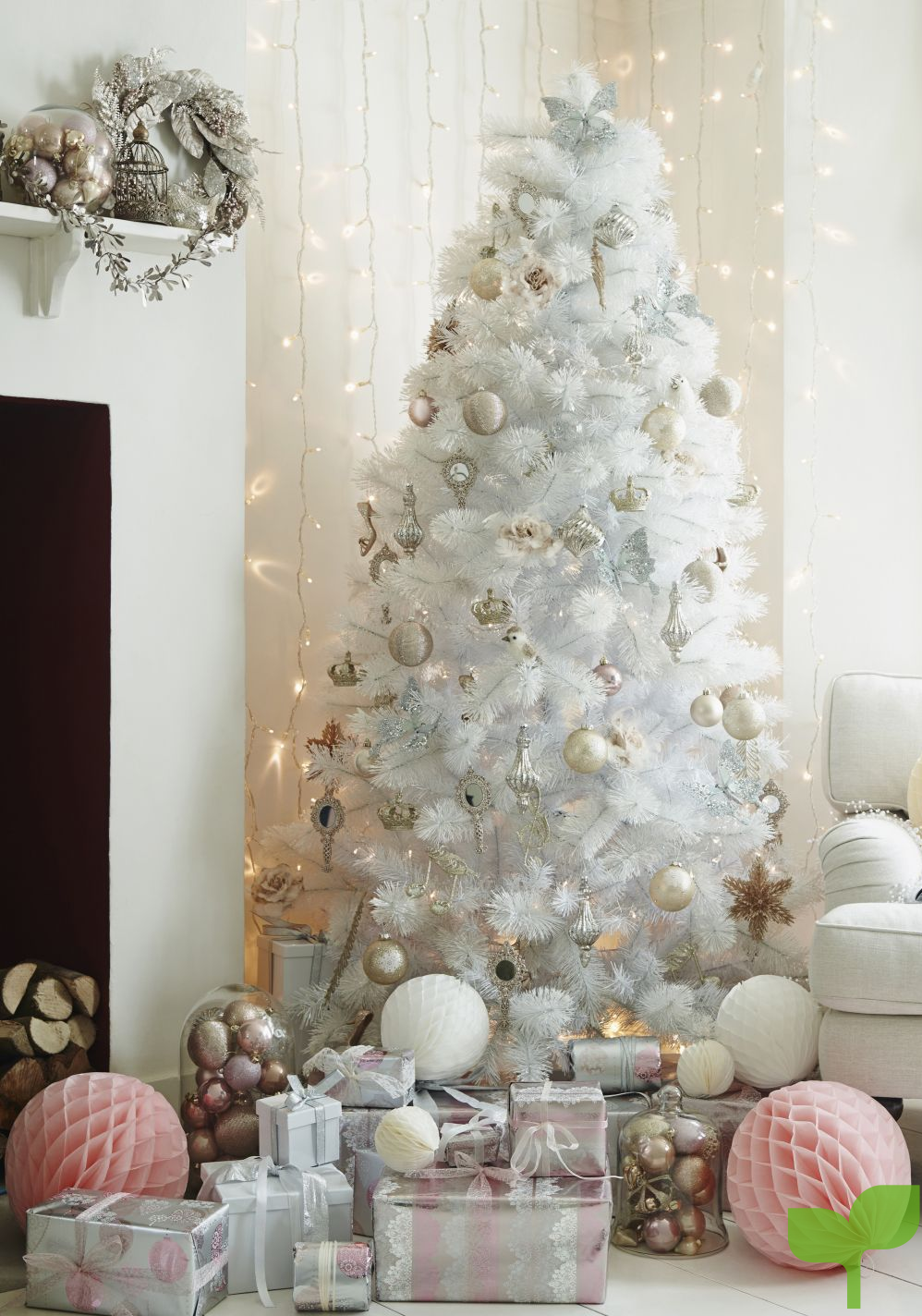decorar árbol de navidad blanco - Ideas para la decoración del árbol de navidad