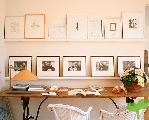 decorar con fotos Fotos sobre estanterías