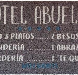 KOKO DOORMATS Felpudo Hotel Abuelos, Nylon, Gris, 70x40x0.5 cm