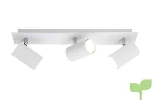 Trio – Focos con 3 luces, bombillas excluidas, GU10, 3,35 W, 230 V, A++, E, IP20, 15 x 48 x 9 cm, metal, blanco