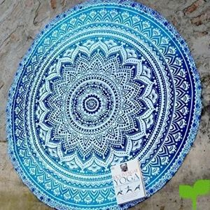 RawyalCrafts Beautiful Indian Mandala redondo Roundie Beach manta tapiz Hippy Boho Gypsy algodón alfombra de Yoga redonda