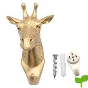 evilandat único jirafa cabeza perchero de pared perchero sombrero gancho con forma de animales decorativo regalo, dorado